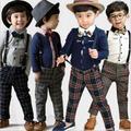Мальчик две части 1 шт. хлопок дети цельный ложные две комбинезон наряды комплект одежды белье пиджак халат Enfant мужской