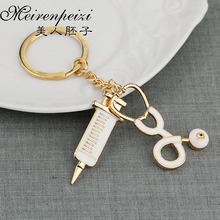 Physician Assistant Keychain Personalized Accessory Medical Key Chain Stethoscope Syringe Charm Ring Doctor Nurse Gift