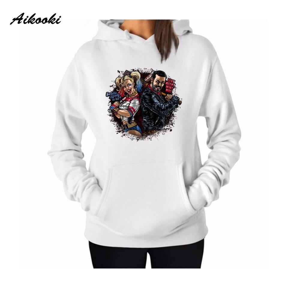 Aikooki Negan Women Brand Autumn Casual Girl Hoodies Sweatshirts Hot Fashion Men/Women Sweatshirts Print Hooded Hoodies Tops