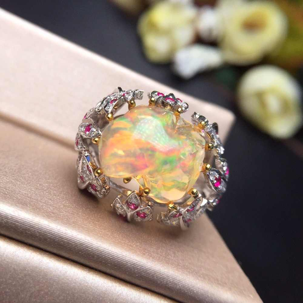 Fine Jewelry Real Pure 18 K White Gold AU750 Love 100% Natural Yellow Opal Gemstones 8ct Female Rings for Women Fine Ring