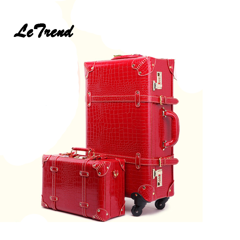 Letrend Retro Crocodile Suitcase Wheels Rolling Luggage Set Password Trolley Spinner Travel Bag Women 20 inch Carry On Trunk luggage 2pcs set 14 inch and 20 22 24 26 inch box rolling suitcase universal wheel travel box password girl luggage bags trunk
