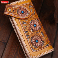 New women wallet Hand stitched pine stone inlay snake skin leather card holder hand stitched hollow carving ladies long wallets