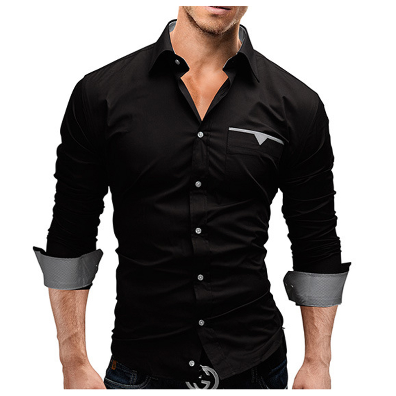 2018 herfst mode shirts heren casual merk kleding heren shirt effen - Herenkleding