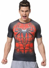 Red Plume Men's Compression Tight Fitness Shirt,Men Spider-Man Armor Sports Running Training Red T-shirt
