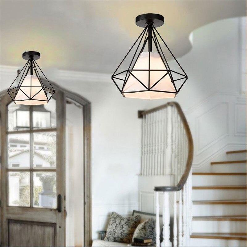 HTB1pr1PX21H3KVjSZFBq6zSMXXa2 20cm Vintage Industrial Rustic Flush Mount Ceiling Light Black / White Metal Lamp Fixture Nordic Style Creative Retro Light Lamp