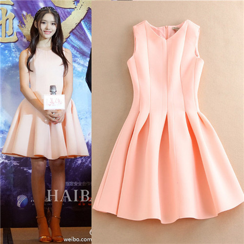 68da4c2f33 2016 free shipping fashion women summer dress sleeveless brand pink space  cotton pouf dress ball gown lovely dresses cute vacuum