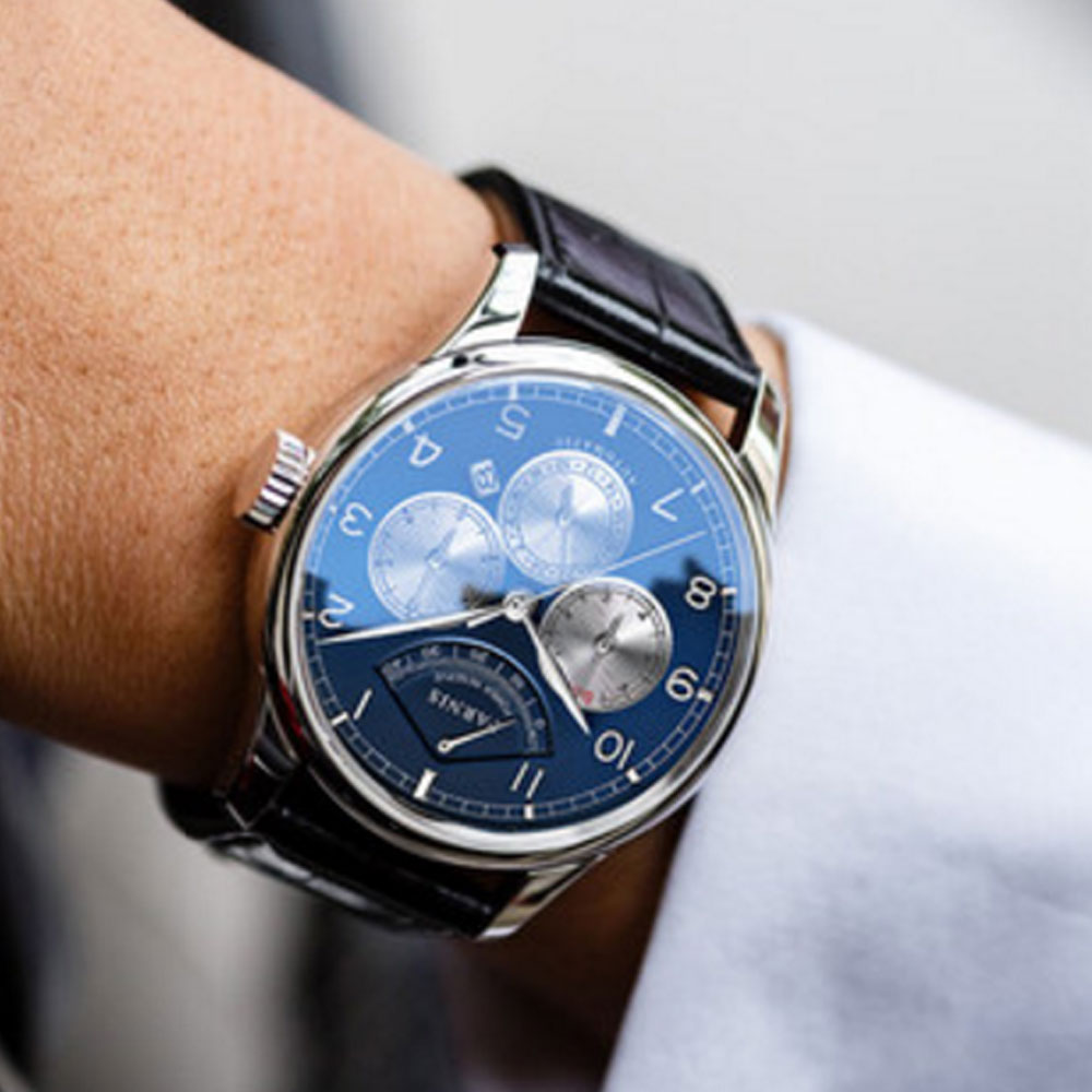 42mm Parnis Blue Dial Moon Phase Power Reserve Watch Men Luxury Brand Top Winder Watch Miyota Automatic movement men 39 s Watch in Mechanical Watches from Watches