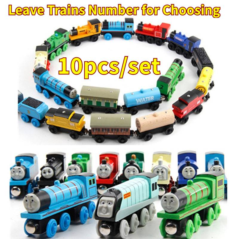 10pcs/set Wooden Vehicles Thomas and His Friends Trains Model Toy Magnetic Thomas Train Great Kids Christmas Toys Gifts for Kids