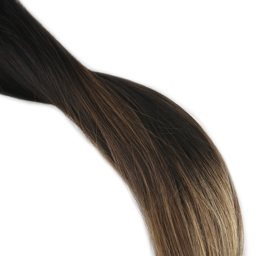 Full Shine Full Head Clip In Hair Extensions Double Weft Black Roots Ombre Color 1B Fading To 6 And 27 100g 10Pcs Hair Clip In in Clip in Full Head from Hair Extensions Wigs
