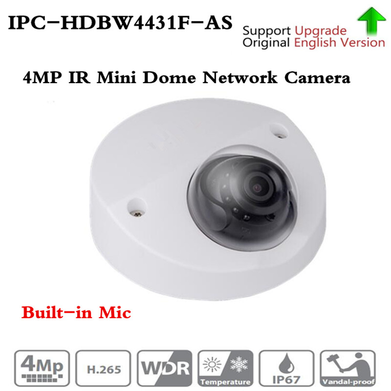 Origina IPC-HDBW4431F-AS 4MP IR Mini Dome Network IP Camera 20m IR support Micro SD card Smart Detection H.265 WDR IP67 IK10 PoE 4mp poe dahua covert pinhole camera main unit ipc hum8431 e1 h 265 support smart detection and sd card metal case