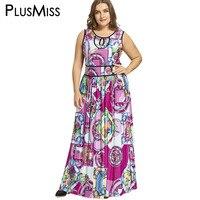 PlusMiss Cộng Với Kích Thước 5XL 6XL 7XL Pattern Tribal In Maxi dài Jersey Dress Phụ Nữ Không Tay Boho Tộc Đảng Dress Big kích thước