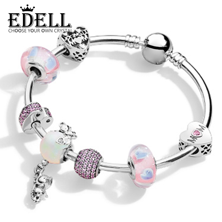EDELL 100% 925 Sterling Silver Brand New 1:1 Genuine Charm Heart-Shaped Pink Bracelet Set For Mother's Day Gift цена