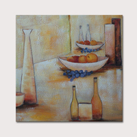 Handpainted Abstract Modern Canvas Wall Art Fruits Bottle Oil Painting For Home And Kitchen Decoration 50x50cm