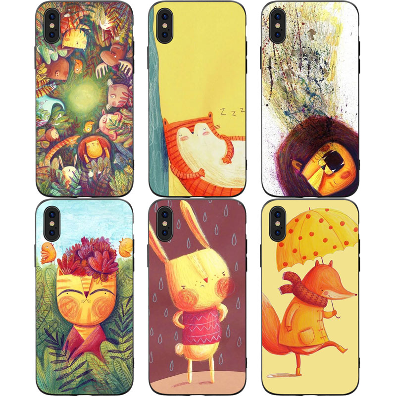 Cute Cartoon Animal Phone Cases Cover for iphone X XR XS MAX 6 6s 7 8 Plus TPU Cover Coque For iphone 7 8Plus iphone 5SE Cases