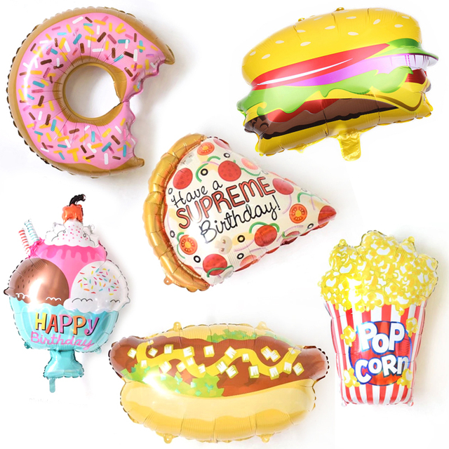 1pcs happy birthday balloon donuts popcorn pizza ice crame birthday