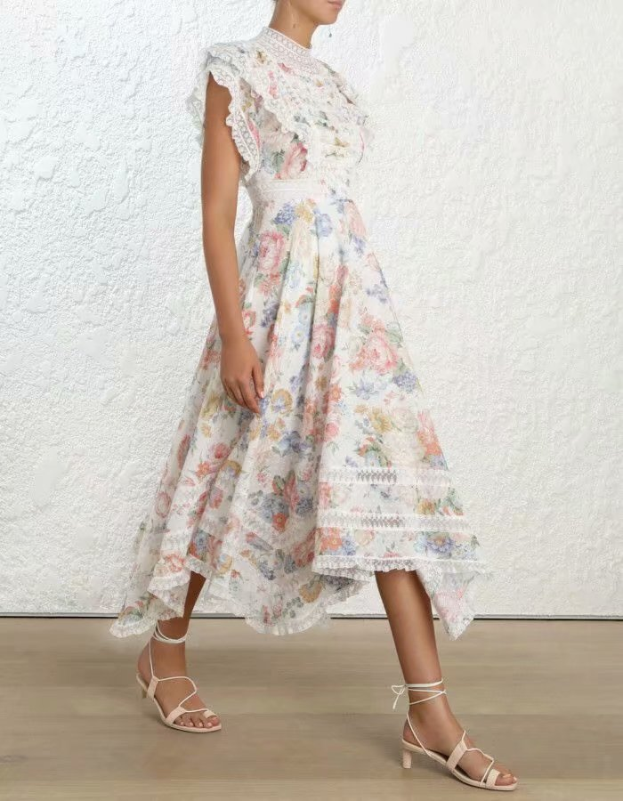 2019 New Arrival Short Sleeve Linen Printed Lace Long Dress Women s Dress 190218H03