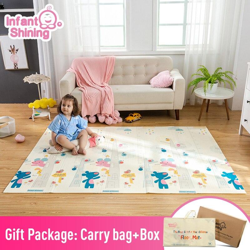 Tapis de jeu brillant pour bébé 180*200 cm Portable pliant bébé tapis d'escalade tapis en mousse XPE environnement salon jeu couverture