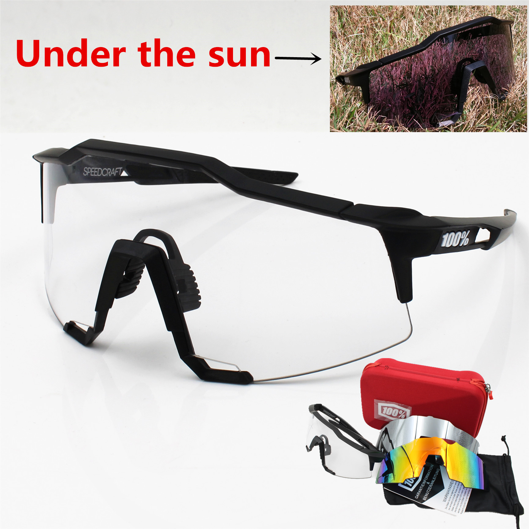 Brand 3 Lens clear lens Outdoor Sports Bicycle Sunglasses bicicleta MTB Cycling Glasses Eyewear new hot fashion unisex women men hipster vintage retro classic half frame glasses clear lens nerd eyewear 4 colors