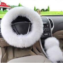 3pcs Set Long Plush Warm Steering Wheel Cover Woolen Handbrake Car Acce