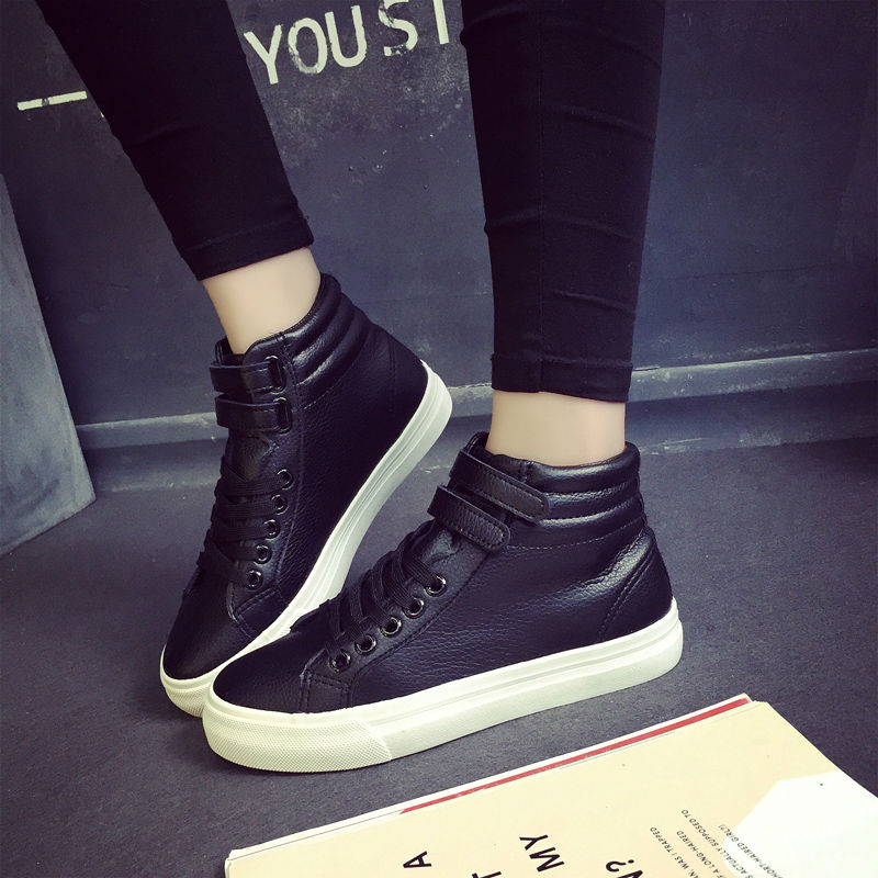 High Tops Ankle Boots Women Shoes PU Leather Woman Lace-up Flats Winter Snow Black White botas mujer tenis feminino