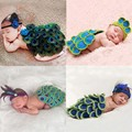 Toddler Infant Peacock Design Handmade Crochet Cape and Feather Headband Newborn Photography Props Costumes Birthday Gifts