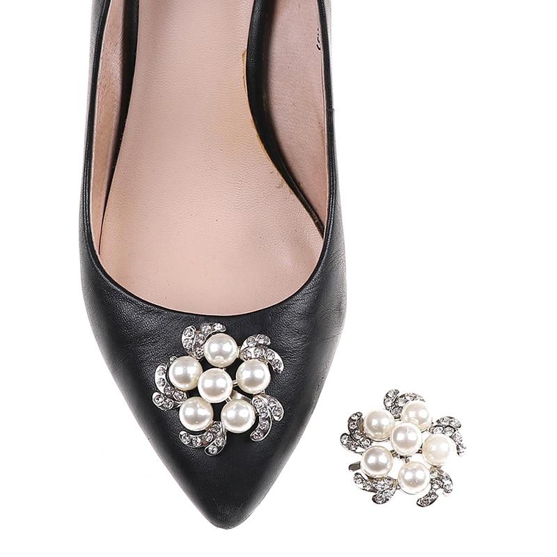 1PC Women Shoe Decoration Clips Crystal Pearl Shoes Buckle Wedding Decor   X