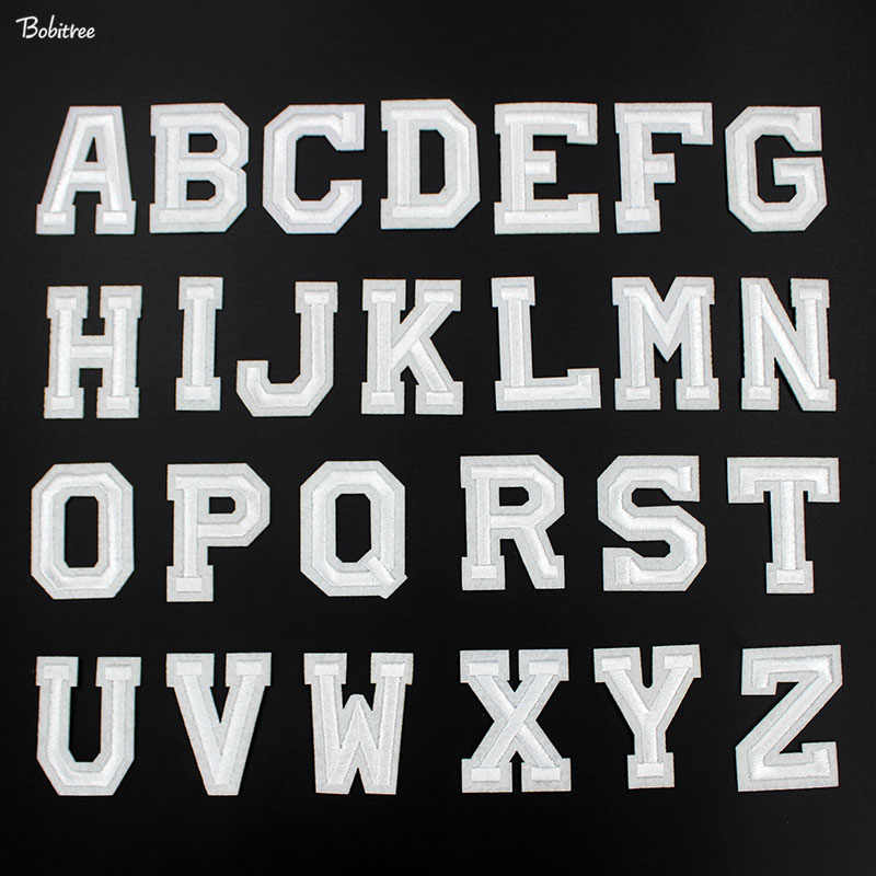 A-Z English Alphabet White Letters Patches Iron on for Clothes Embroidery Stickers DIY Cloth Decoration Sewing Supplies