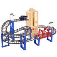 Emulational Roller Coaster Toy Electric Car Model Children Rail Car Toy Big Multilayer Train Track Toys