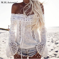 M H Artemis Sexy Off The Shoulder Lace White Blouse Shirt Long Sleeve Women Boho Chic
