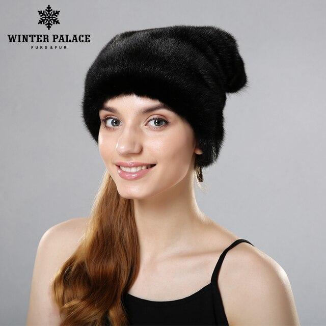 Chapéu de pele para o inverno inteiro real mink gorro de pele de vison 2017  moda feminina gorros chapéus de pele para as mulheres de boa qualidade si  livre cce9840b8f3