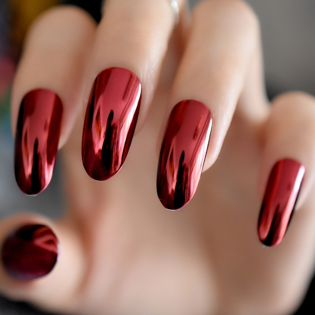 gorgeous mirror acrylic nails red