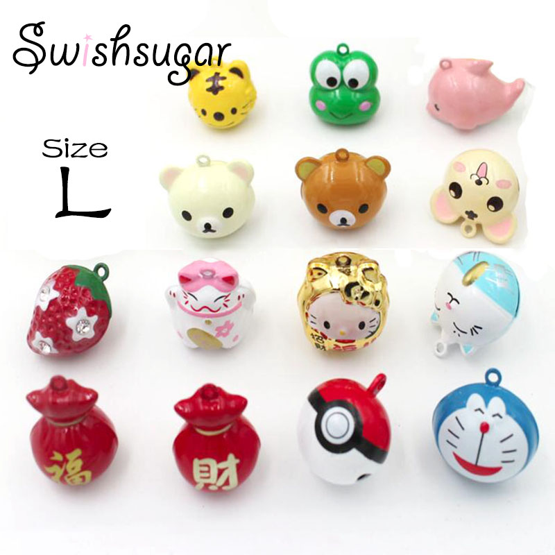 L Size Cute Cartoon Jingle Bell Charms Good Luck Christmas Decoration Pendant Handmade Crafts Jewelry Accessories