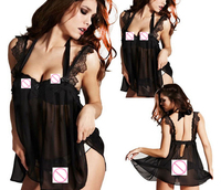 Hot Sexy Exotic Lingerie Lace Black Sleepwear See Through Sexual Night Gown Spaghetti Strap Erotic Underwear ropa erotic YF036