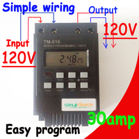 SINOTIMER 30A 7 Days Programmable Digital TIMER SWITCH Relay Control 110V 120Vac Din Rail Mount FREE