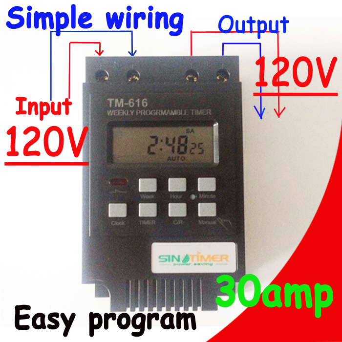 High Load 30A Time Relay 7 Days Programmable Digital Timer Switch Relay Control Time 110V 120V AC Din Rail Mount купить