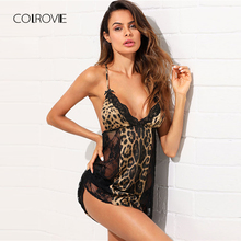 COLROVIE Open Back Leopard Lace Insert Night Dress 2018 New Black Summer Sleeveless Women Nightgown Deep V Neck Sexy Sleepwear