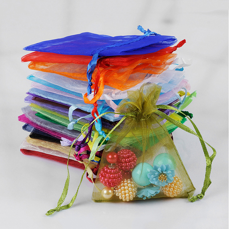 50pcs Organza Bags Jewelry Packaging Bags Wedding Party Decoration Drawable Bags Gift Pouches Christmas Gift Bag