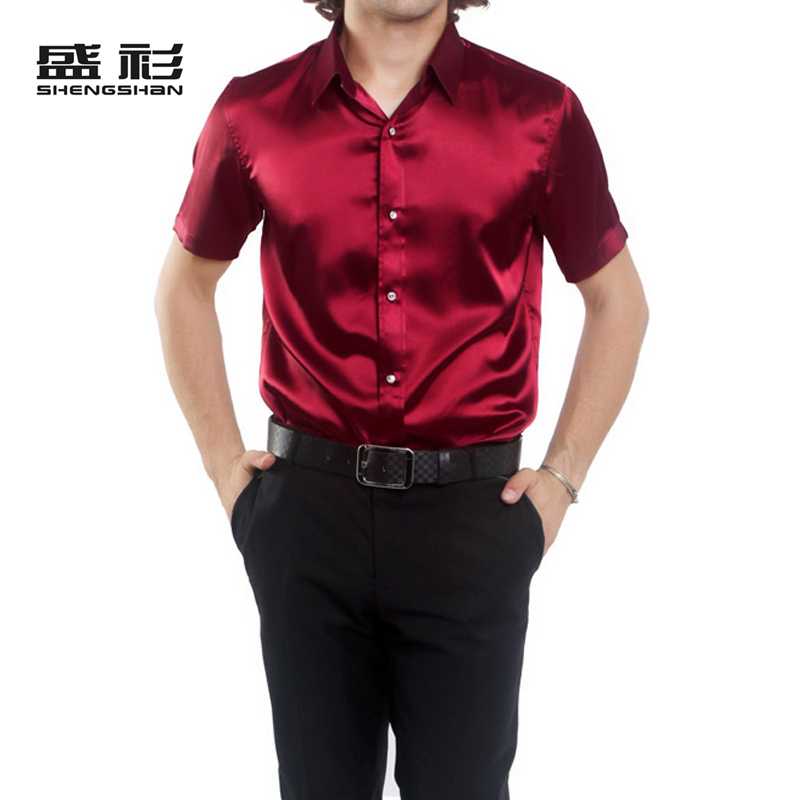 Brand-new Spring and Summer Wine Red Faux Silk Slim Shirt Fashion Men's  FO12