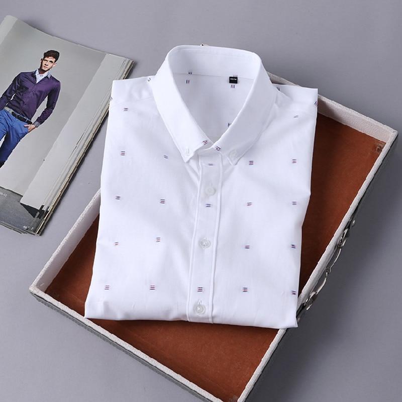 2018 Summer 100% Cotton Button Down Dress Shirts Designer Solid Men