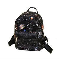 الأزياء نجمة الكون الفضاء الطباعة حقيبة مدرسية الأسود للمراهقات حقيبة صغيرة المرأة حقيبة جلدية جديدة لديها شعار