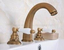 Bathroom Basin Faucet Antique Brass Mixer Tap Double Handles 3 pcs Faucets zan078