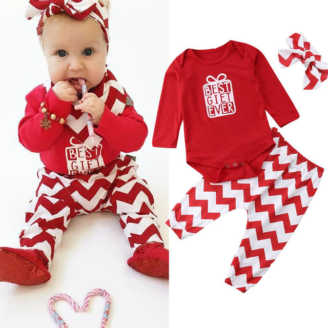 3PCS Newborn Kids Baby Girls Christmas Outfits Romper Jumpsuit Pant  Headband Set - 3PCS Newborn Kids Baby Girls Christmas Outfits Romper Jumpsuit Pant