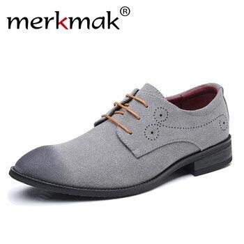 Merkmak Büyük Boy 47 48 Erkek rahat ayakkabılar Marka Süet Deri Klasik Retro Brogue Oxfords Ayakkabı Rahat Yumuşak erkek Daireler