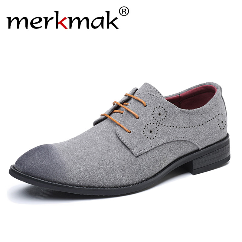 Merkmak Big Size 47 48 Men Casual Shoes Brand   Suede     Leather   Classic Retro Brogue Oxfords Shoes Comfortable Soft Men's Flats