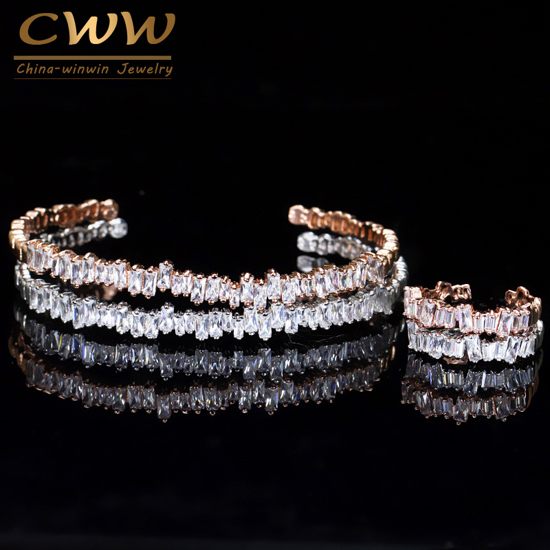 CWWZircons New Fashion Rose Gold Color Baguette Cubic Zirconia Cuff Bracelet Bangle And Ring Sets Best Friend Jewelry Gift T170