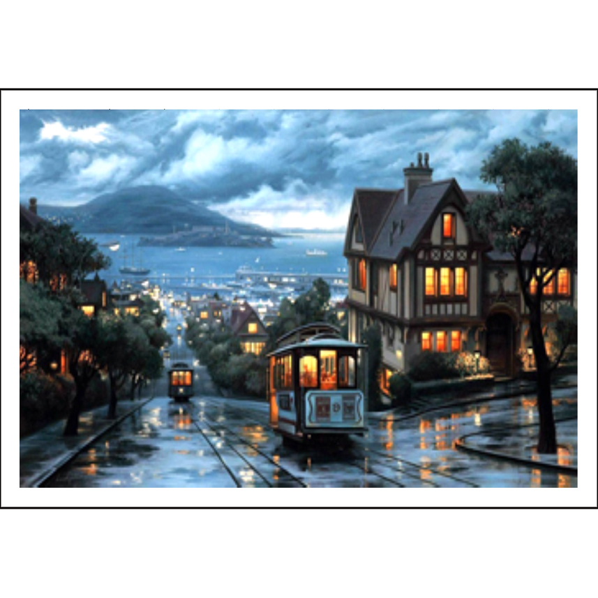 Cross-stitch,Sets For Full Embroidery,house,Port Town,landscape ,White Canvas 40x50cm,cotton Thread,Diy,Needlework,kits,Dmc