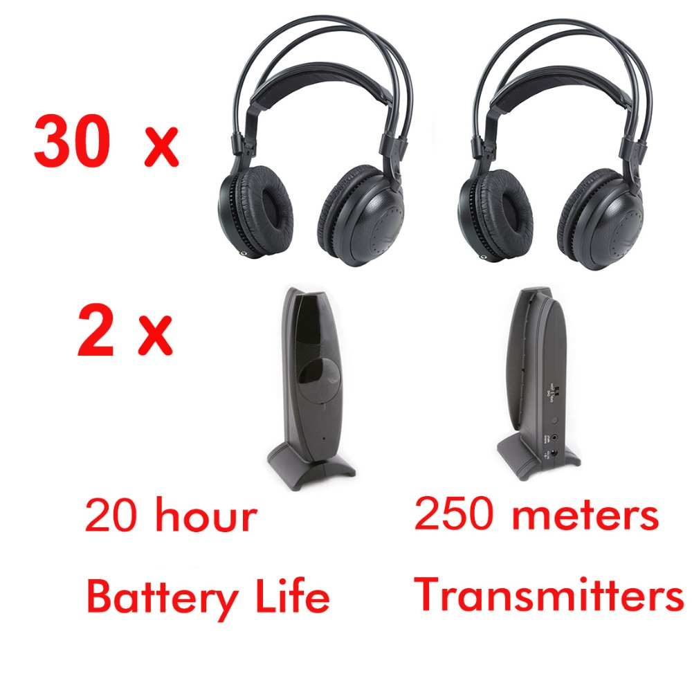 все цены на Professional Ultra low bass 30pcs Silent disco Wireless headphones and 3 transmitters- for silent party meeting DJ and so on онлайн