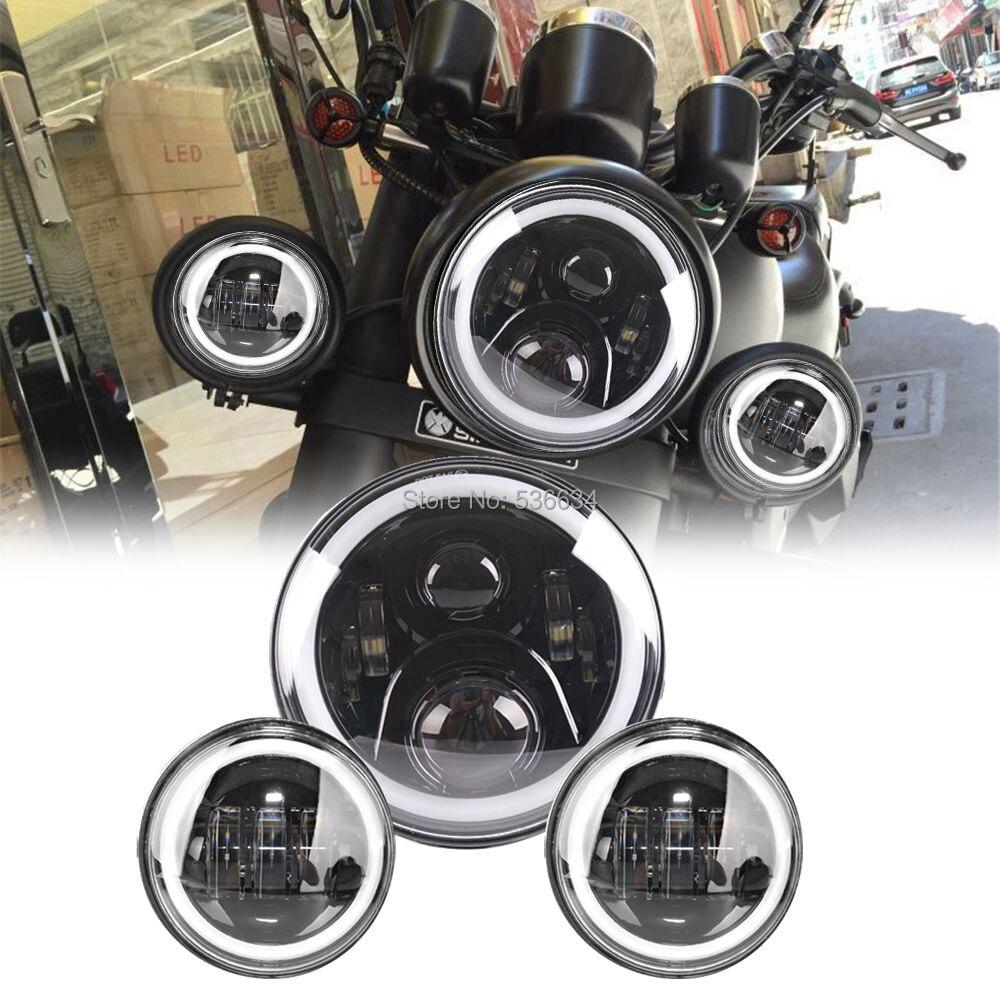 7-дюймовый круглый светодиодный проектор Daymaker фары гало с соответствующими 4.5 дюймовым проходящих Противотуманные фары для Harley Дэвидсон Софтейла Делюкс