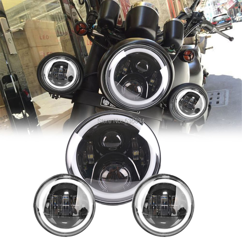 7Inch Round LED Projector Daymaker  Headlight with Matching Black 4.5Inch LED Passing Lamps For Harley Davidson Softail Deluxe