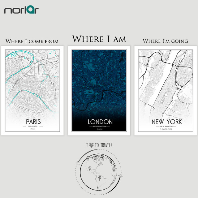 Limited edition custom print creative nordic customizable world city limited edition custom print creative nordic customizable world city line drawing art map canvas painting wall gumiabroncs Images